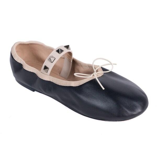 a487c0e182d Shop Valentino Black Patent Leather Rockstud Ballerina Flats - Free ...