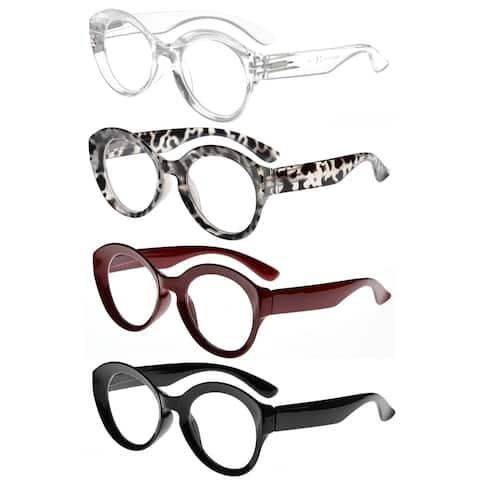 Eyekepper 4 Pack Round Reading Glasses Women Large Frame Readers