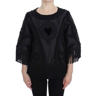 Dolce & Gabbana Black Torero Heart Fringes Blouse - it40-s