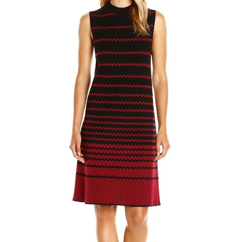 Nic+Zoe Black Red Womens Size XS Jacquard Mock Neck Sweater Dress