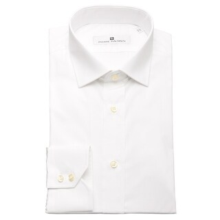 Pierre Balmain Men Slim Fit Cotton Dress Shirt Solid White (2 options available)