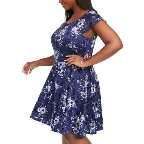 City Studios Women's Dress Blue Size 16W Plus A-Line Floral Lace