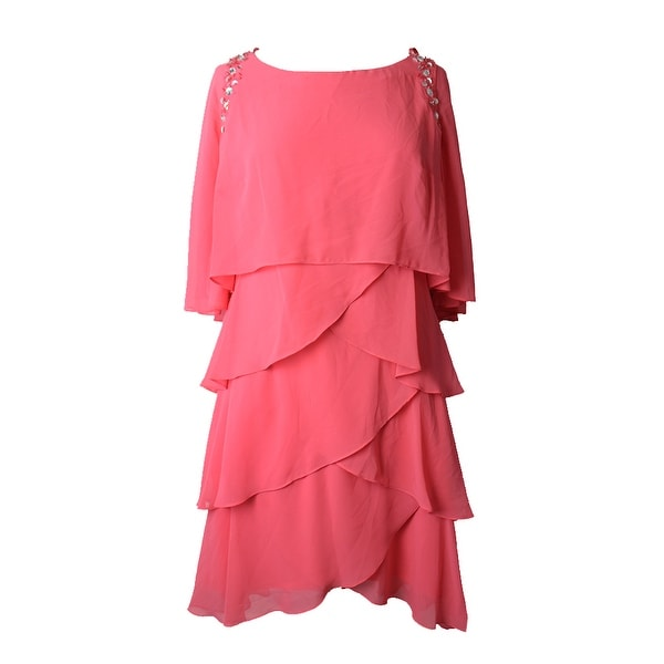Sl Fashions Flamingo Pink Beaded Tiered Capelet Dress 6