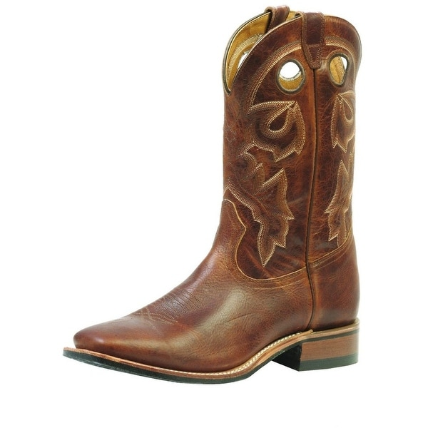 Boulet Western Boots Mens Cowboy Leather Stockman Damiana Moka