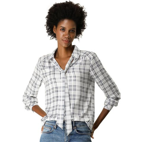 Women's Tie Bow Neck Long Sleeve Button Up Shirt Casual Plaids Top - White Blue