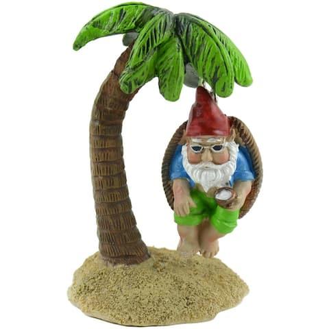 "Fairy Garden Gnome On Palm Tree Swing-4.5"""