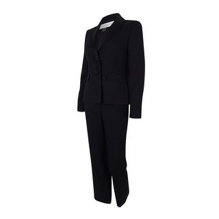 Le Suit Women's Two-Button Satin Trim Pant Suit - Black