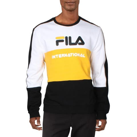 Fila Mens Bravo Sweatshirt Fitness Activewear - White/Gold Fushion/Black - L