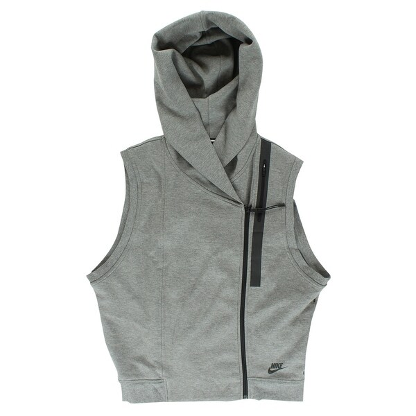 5c5d339fa950 Shop Nike Womens Tech Fleece Hooded Vest Heather Grey - heather grey black  - l - Free Shipping Today - Overstock - 22573845