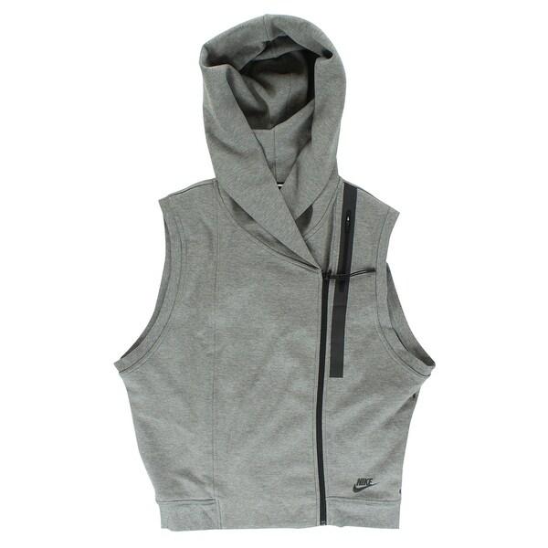3732b1998 Shop Nike Womens Tech Fleece Hooded Vest Heather Grey - heather grey/black  - l - Free Shipping Today - Overstock - 22573845
