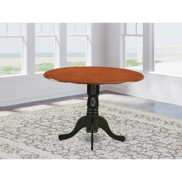 Copper Grove Karl Round Table with Two 9-inch Drop Leaves. Opens flyout.