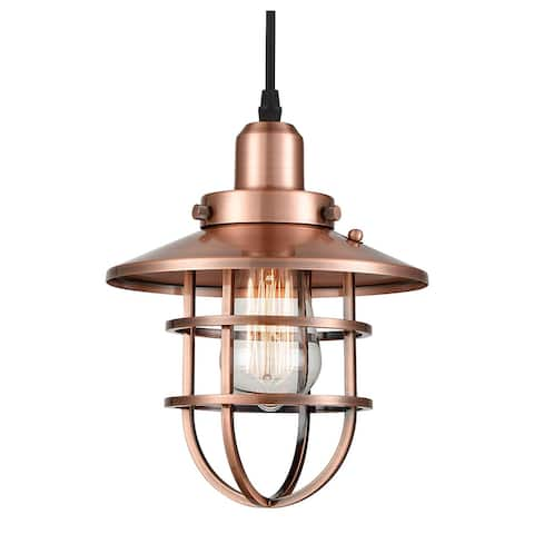 Vintage industrial edison cage pendant light with antique copper finish