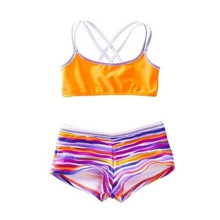 Azul Girls Orange Purple Stripe Lilac And Stitch 2 Pc Shorts Swim Set (More options available)