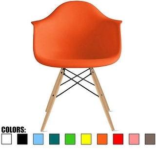 2xhome Orange Eames Dining Room Arm Chair With Natural Wood Eiffel Style Legs