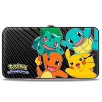 Kanto Starter Pokmon & Pikachu Pokmon Logo Rays Black Gray Hinged Wallet - One Size Fits most