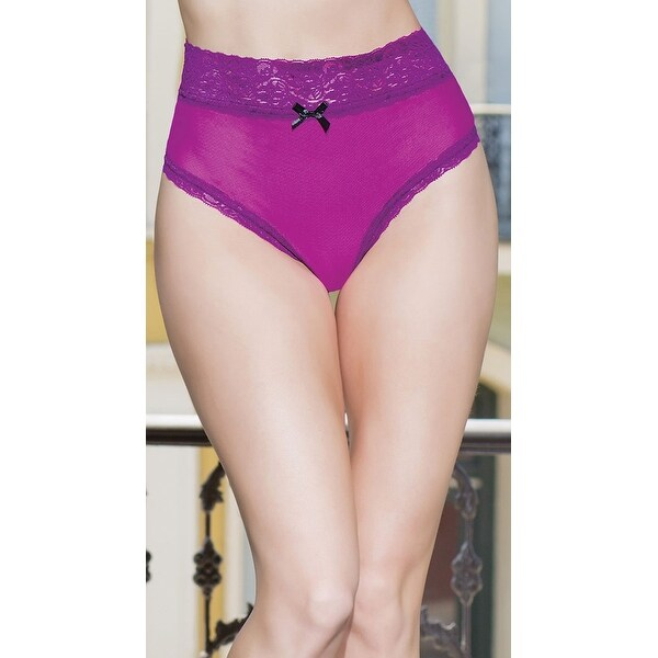 94350d2b8 Shop High Waisted Magenta And Lace Thong - Magenta Black - One Size Fits  Most - Free Shipping On Orders Over  45 - Overstock - 18291374