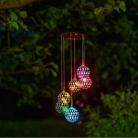 Solar Metal Orb Wind Chime Mobile For Home Patio Garden - Metal Orb