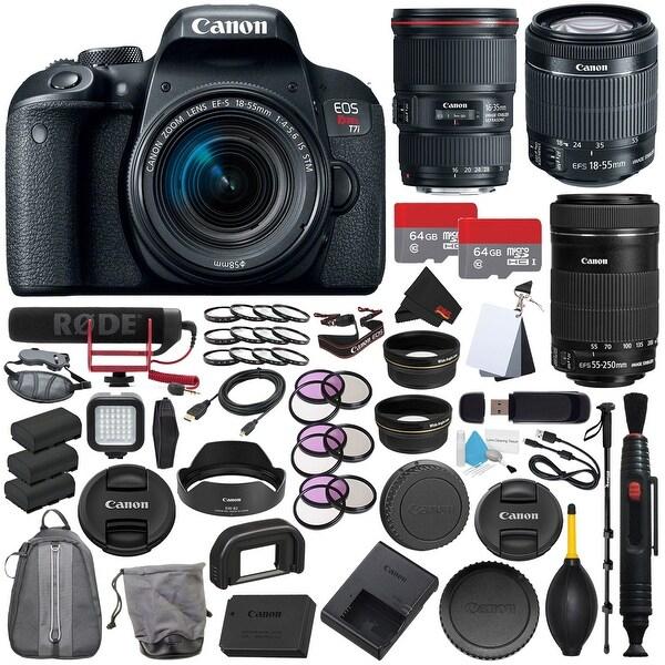 Canon EOS Rebel T7i DSLR Camera with 18-55mm Lens + Canon EF 16-35mm f/4L IS USM Lens Filmmaker Kit