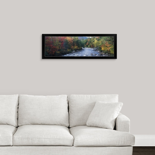 """River flowing through a forest, Swift River, Conway, Carroll County, New Hampshire"" Black Framed Print"