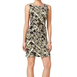 Connected Apparel NEW Green Olive Women's Size 6 Sheath Floral Dress