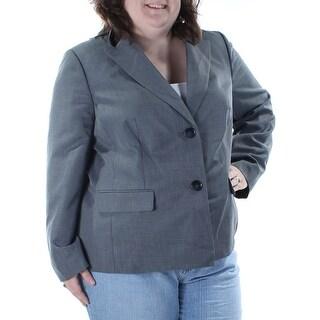 LE SUIT Womens New 1217 Gray Blazer Wear To Work Jacket 18W Plus B+B
