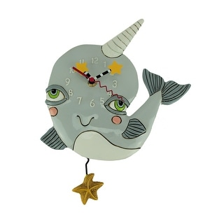Allen Designs Narly Narwhal Pendulum Wall Clock - 13 X 10 X 2 inches