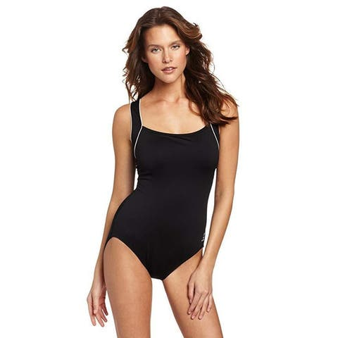TYR Sport Women's Polyester Solid Square Neck Tank Swimsuit, Black, SZ 18