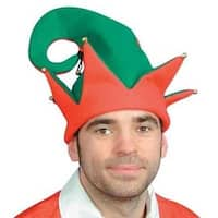 Two-tone Red and Green Christmas Elf Hat with Gold Jingle Bells- Teen/Adult
