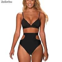 f2653526b81 High Waist Swimsuit 2018 Bikini Women Swimwear Halter Sexy Brazilian Bikinis  Set Beach Wear Bathing Suits