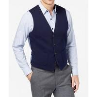 Tasso Elba Navy Men Large V-Neck Button-Down Knit Vest Jacket