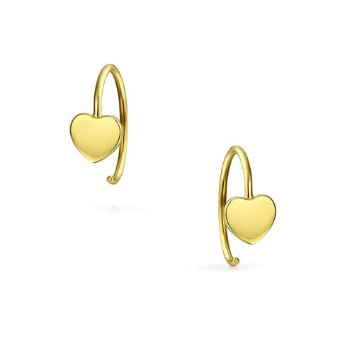 Tiny Minimalist Heart Shaped Threader Earrings For Women For Teen For Girlfriend Real 14K Yellow Gold