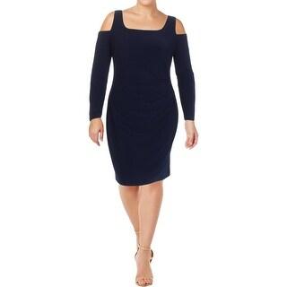 Lauren Ralph Lauren Womens Cocktail Dress Cold Shoulder Ruched