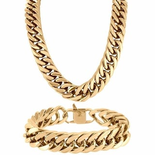 """Rose Gold Tone Miami Cuban Heavy 30"""" Necklace 18mm Bracelet Stainless Steel"""