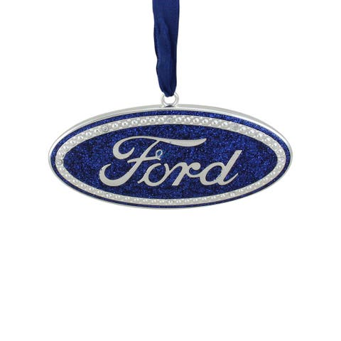 "4"" Oval Ford Logo with 8 European Crystals Christmas Ornament"