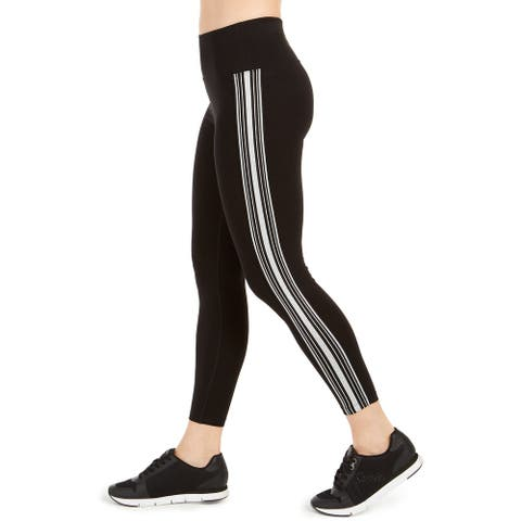 Calvin Klein Performance Women's Striped Four-Way Stretch Leggings, Black, XL