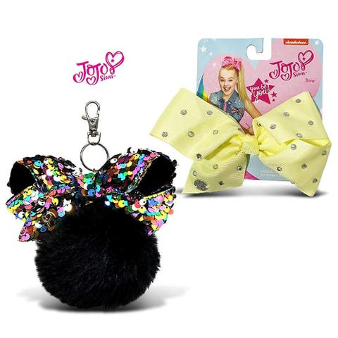 Jojo Siwa Black Fur Ball with Mini Sequin Bow and Light Yellow Signature Bow with Rhinestones 2 Items