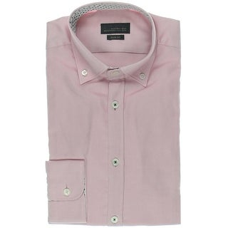 Zara Black Tag Mens Slim Fit Button-Down Collar Dress Shirt