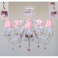 Swarovski Crystal Trimmed Plug In Chandelier Lighting With Crystal Pink Shades