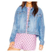 Free People Womens Denim Jacket Tencel Faded