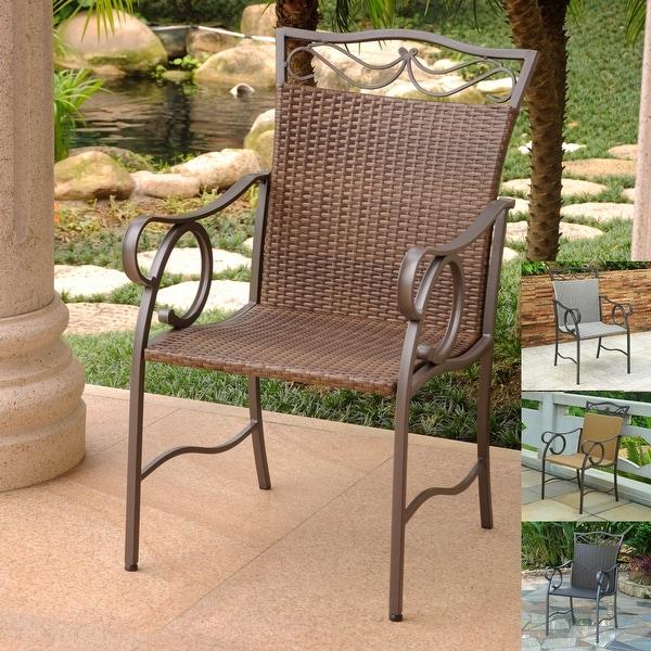 International Caravan Valencia Resin Wicker/ Steel Dining Chairs (Set of 2). Opens flyout.