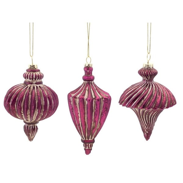 "Pack of 6 Purple and Gold Distressed Antique-Style Ribbed Glass Finial Christmas Ornaments 4""-5"""