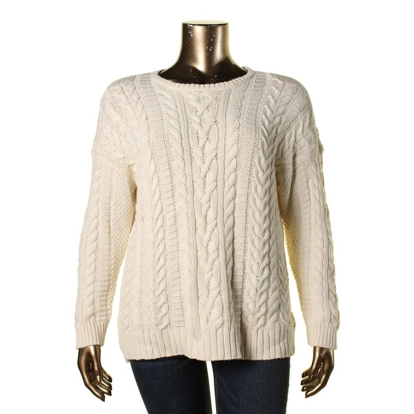 Lauren Ralph Lauren Womens Plus Pullover Sweater Cable Knit Crew