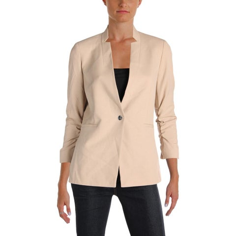 Tahari ASL Womens Petites One-Button Blazer Ruched 3/4 Sleeves