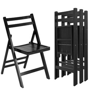 Costway Set of 4 Solid Wood Folding Chairs Slatted Seat Wedding Patio Garden Furniture - Black