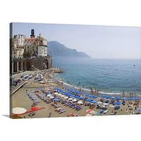 Premium Thick-Wrap Canvas entitled Houses on the sea coast, Amalfi Coast, Atrani, Salerno, Campania, Italy - Multi-color