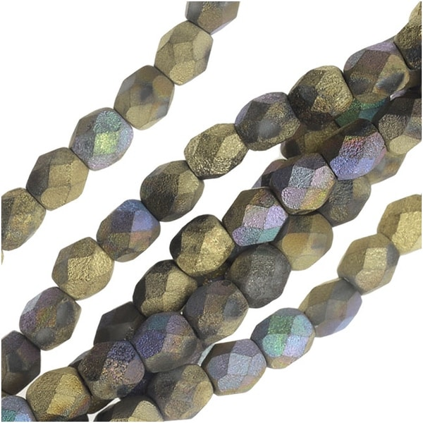 Czech Fire Polished Beads, Faceted Round 4mm, 40 Pieces, Satin Matte Amber