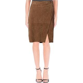 Lauren Ralph Lauren Womens Suede Faux Wrap Pencil Skirt