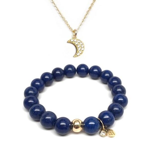 "Blue Jade 7"" Bracelet & CZ Moon Gold Charm Necklace Set"