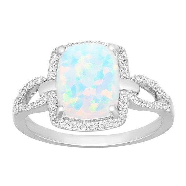 3/4 ct Created Opal & 1/4 ct Diamond Ring in Sterling Silver - White