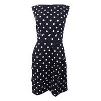 Connected Women's Petite Tiered Sheath Polka-Dot Dress (10P, Black) - Black - 10P